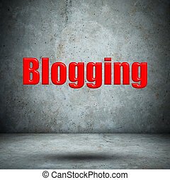 blogging on concrete wall