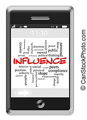 Influence Word Cloud Concept on a Touchscreen Phone with...