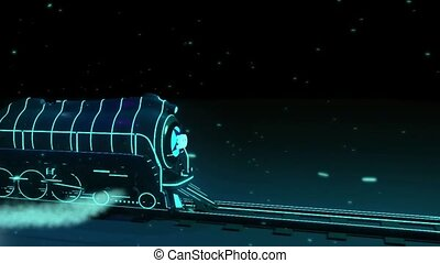 train with neon lights on black backround 3d graphics , vj -...