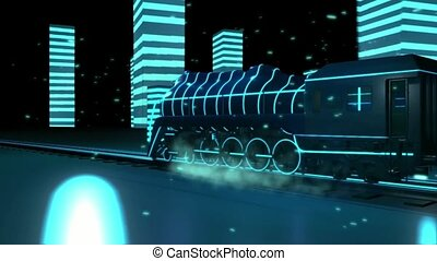 train with neon lights 3d graphics , vj - Train rides with...