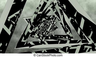 Tunnel of rotating triangles . abstract 3d graphics , vj -...