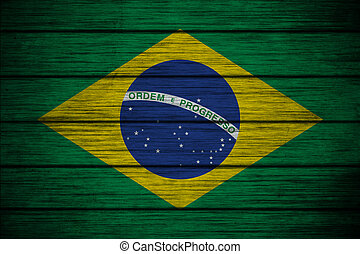 brazilian flag on Background texture wood