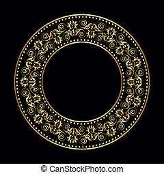 golden frame - Golden plate with vintage ornament on black...