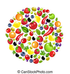 Circle From Vegetables And Fruit, Isolated On White...