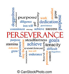 perseverancia, palabra, nube, concepto
