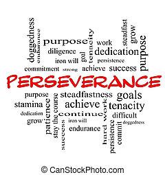 perseverança, conceito, palavra, bonés, nuvem, vermelho