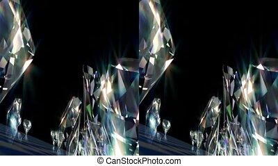 Diamonds. Real 3D Stereoscopic. - Shiny beautiful diamonds....