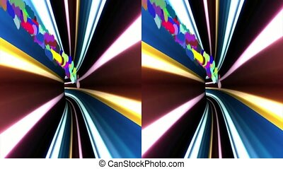 VJ multicolored tunnel Real 3D stereoscopic - vj,...