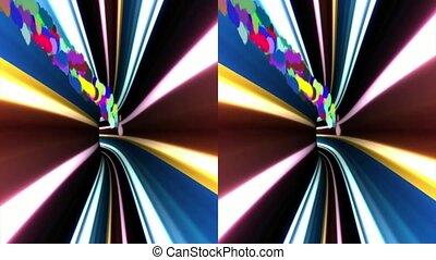 VJ. multicolored tunnel. Real 3D stereoscopic. - vj,...