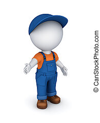 3d small person in a workwearIsolated on white3d rendered