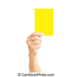 man hand holding yellow card isolated on white,for sport...