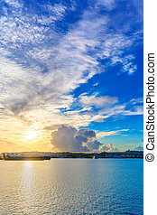 Clouds of sunrise harbor of Okinawa - Clouds of sunrise,...