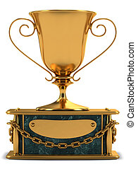 Gold cup standing on the marble stand