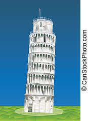 Leaning Tower of Pisa illustration in triangular pattern...