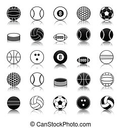 Sport balls icons pack - Vector set of balls and sports...