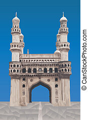 Charminar illustration in triangular pattern style