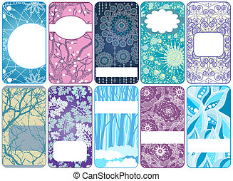Set of ten beautiful winter cards. Vector art illustration,...