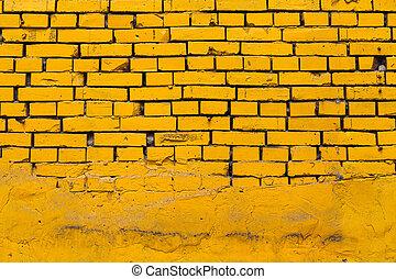 Yellow Brick Wall - Vintage yellow brick wall partly facing...