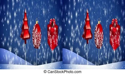 VJ. New Year, snow, gifts. Real 3D stereoscopic. - vj, New...