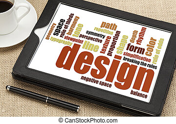design elements and rules - a word cloud on a digital tablet