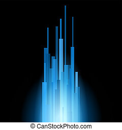 Blue Straight Lines Abstract on Black Background Vector...