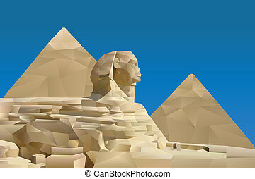 Pyramid of Egypt illustration in triangular pattern style