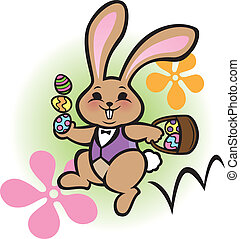 Easter Bunny Hop - Illustration of a chubby, brown Easter...