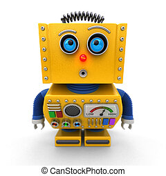 Curious toy robot leaning forward to look at something with...