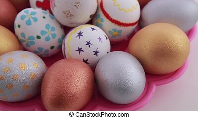 Colorful easter eggs isolated over white background