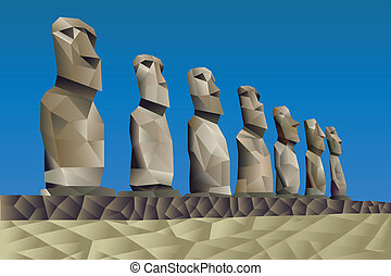 Easter Island statues illustration in triangular pattern...
