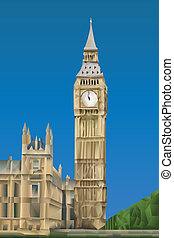 Big Ben Tower illustration in triangular pattern style