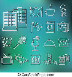 outline hotel and accommodation icons