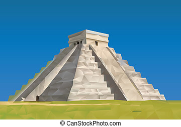 Chichen Itza Mayan illustration in triangular pattern style