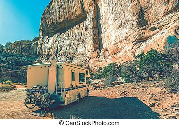 Aged Camper in the Canyon. RV Utah Trip in Vintage Color...