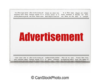 Advertising concept: newspaper headline Advertisement