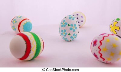 Colorful Easter eggs isolated over white background....