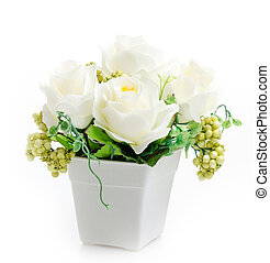 Plastic flower vase isolated white background