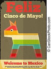 Pinata. Mexican Poster in Retro Style. Cinco de Mayo. Vector...