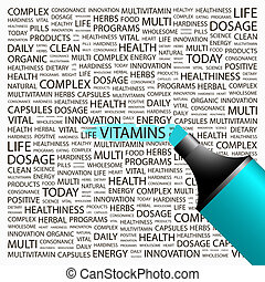 VITAMINS. Background concept wordcloud illustration. Print...