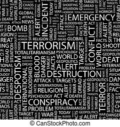 TERRORISM. Seamless pattern. Word cloud illustration.