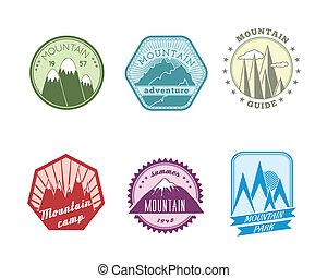 Snowy mountains labels collection - A set of high quality...