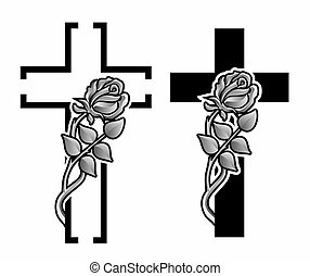 grief - set with two grave crosses with winding rose