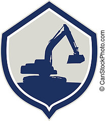 Mechanical Digger Excavator Shield Retro - Illustration of a...