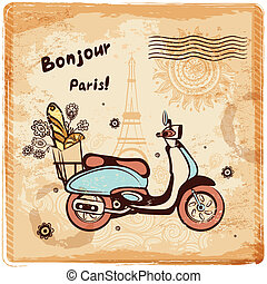Vintage vector Paris postcard illustration for your business