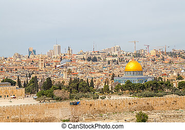 Dome of the Rock in beautiful panorama of Jerusalem from...