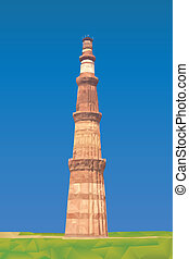 Qutub Minar illustration in triangular pattern style
