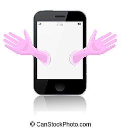 Smartphone - Cell Phone Vector Illustration Isolated on White Background