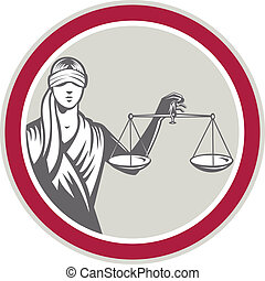 Lady Blindfolded Holding Scales Justice Circle -...