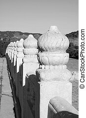 ancient Chinese traditional style of white marble stone bridge railings, in the Eastern Tombs of the Qing Dynasty, china