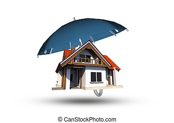 Home Insurance Coverage Abstract Illustration. Large Blue...